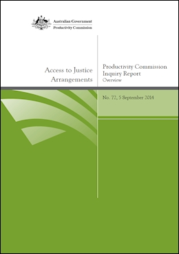 Productivity Commission Inquiry Report – Access to Justice Arrangements